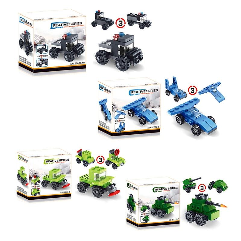 3 In 1 DIY Deformation Car Toys Kids Transformation Truck Car Models Children Assembled Blocks Toy Boy Developmental Gift Random