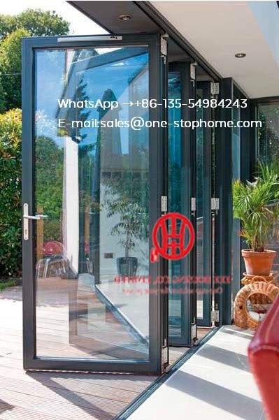 US $4580 0 |Low e glass gray color aluminium folding glass door bi fold  door,bi fold door design exterior patio doors-in Doors from Home  Improvement