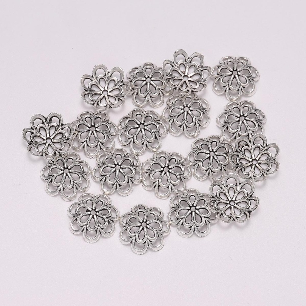 20pcs/Lot 14mm 8 Petals Antique  Hollow Double Flower Loose Sparer Apart End Bead Caps For DIY Jewelry Making Findings