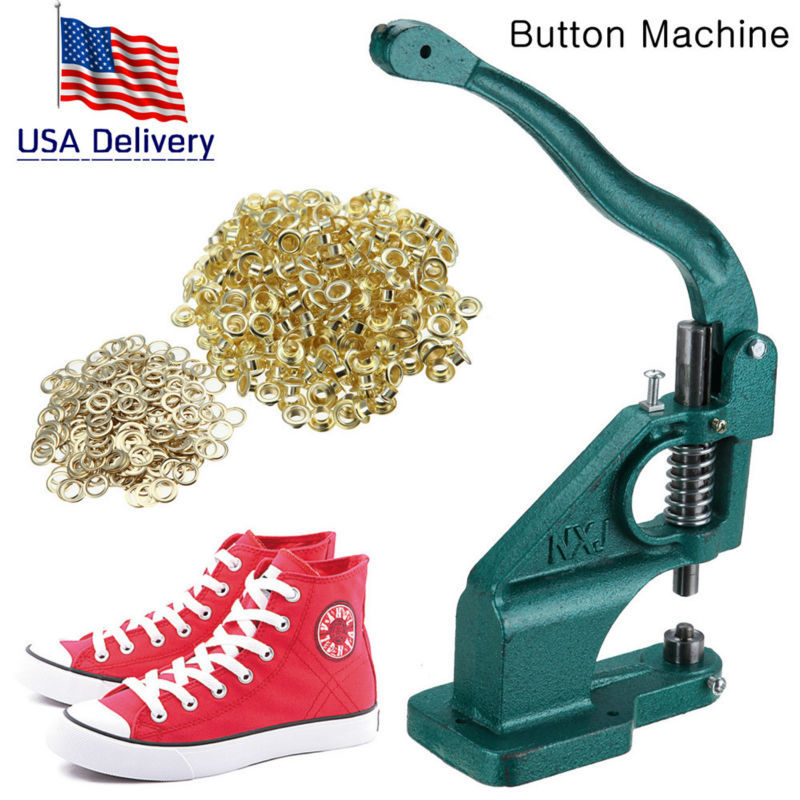 (Ship from USA) Grommet Eyelet Hole Punch Machine Hand Press Tool +3 Dies + 900 Grommets industrial grommet button machine maker eyelet hand press tool for banner bags shoes mould suitable for 2mm id rivet nuts