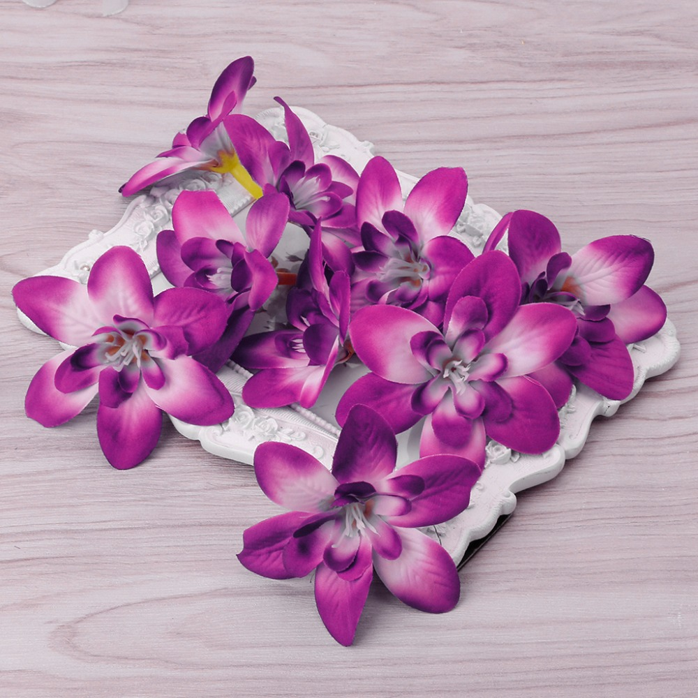 10 x Artificial Flower Orchid Head For Bride Hair Clip Xmas Brooch Craft Wedding Engagement Party Home Decor 6 Colors C42