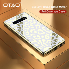 OTAO Plating Glass Leopard Print Case For Samsung Galaxy S9 S10 Plus S10e Hard PC Cover For Samsung Note 9 Soft TPU Edge Coque