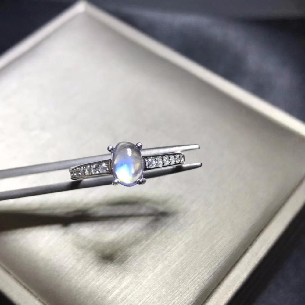 Uloveido Exquisite 925 Sterling Silver Natural Blue Moonstone Ring 5*7mm Gemstone Birthstone Ring for Women with Certificate J36Uloveido Exquisite 925 Sterling Silver Natural Blue Moonstone Ring 5*7mm Gemstone Birthstone Ring for Women with Certificate J36