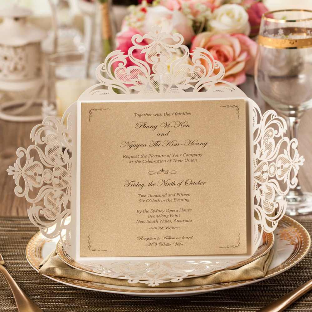 Wishmade Laser Cut Wedding Invitations With Ivory Lace