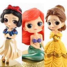 """דיסני 10 ס""""מ גרסת Q נסיכת שלג לבנה אליס בת ים איור אליס בארץ הפלאות אריאל בת הים הקטן PVC איור דגם צעצוע"""
