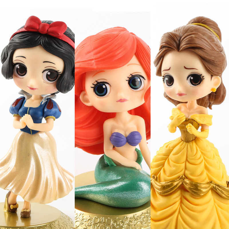 Disney 10cm Q version Snow White Princess Alice Mermaid figure Alice in Wonderland Ariel The Little Mermaid PVC Figure Model Toy
