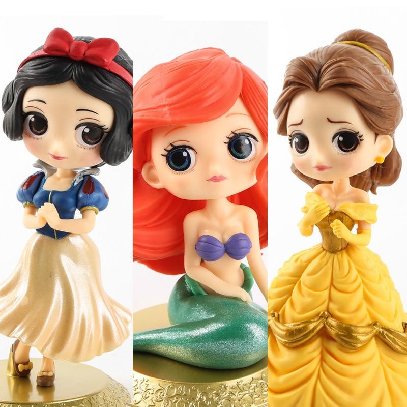 Disney 10cm Q Version Snow White Princess Alice Mermaid Figure Alice In Wonderland Ariel The Little Mermaid PVC Figure Model Toy