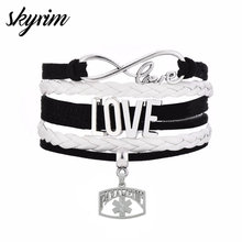 Skyrim Fashion Multi-layer Braided Bracelets With Paramedic Medical Science Nurse Charm&LOVE Connect Pendant Women Jewelry Gift(China)