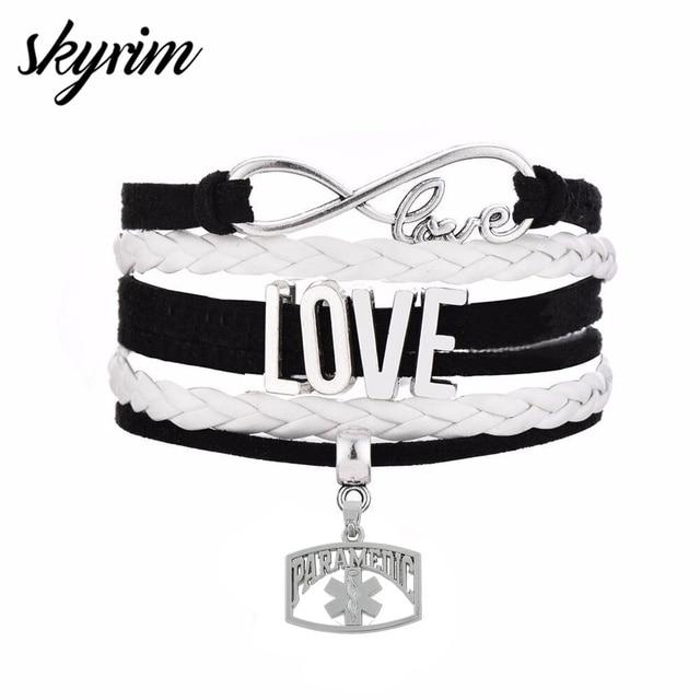 687c51648212 € 0.85 5% de DESCUENTO|Skyrim moda Multi capa trenzada pulseras con  paramédico de la ciencia médica encanto amor y conectar colgante de joyería  ...