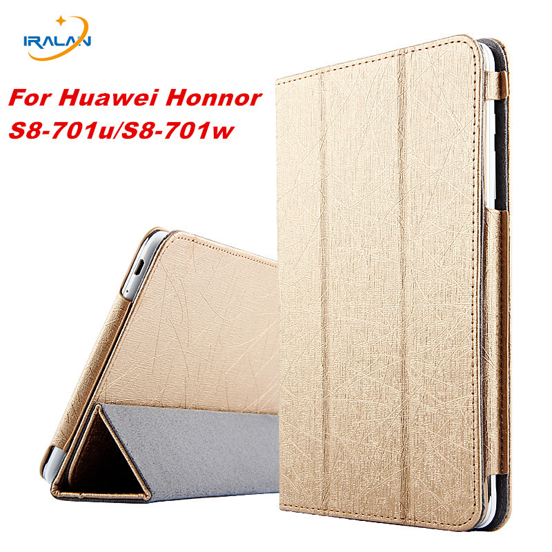 2017 New Fashion Folding Flip Case 3 in 1 Top Quality PU Leather Case Cover For Huawei Mediapad T1 8.0 S8-701U +stylus pen+Film