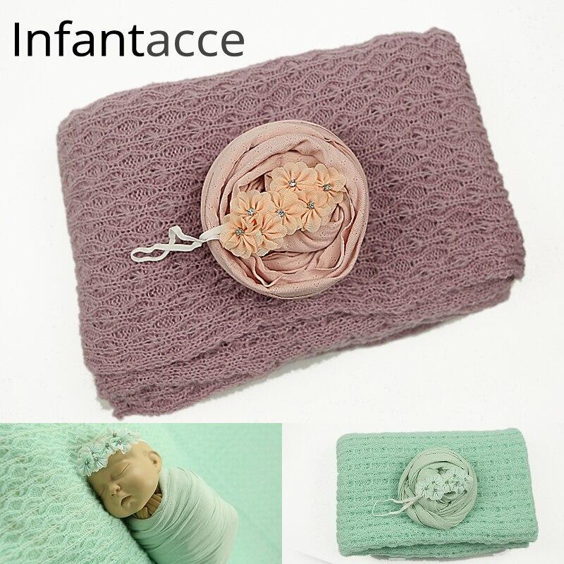 Новорожденных одеяло + эластичный wrap + повязка на голову, детские для фотосессий фонов обертывания одеяла аксессуары для волос реквизит NWB043