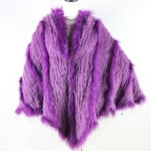 2017 Hot Sale Real Knitted Rabbit Fur And Raccoon Dog Fur Poncho With a Hood Fashion Women Rabbit Fur Shawl Fur Coat