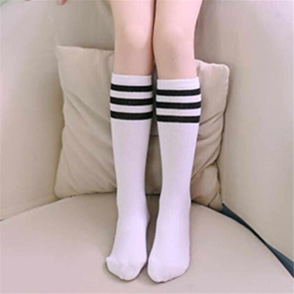 Para meninas meninos futebol listras de algodão esportes velha escola branco meias skate crianças bebê longo tubo perna quente crianças joelho alta meias