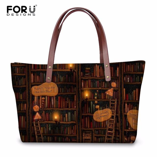 FORUDESIGNS Vintage Women Casual Messenger Bags Handbags Cute Book Shelf Sleepy Kitty Cat Pattern Ladies Large Beach Tote Bags