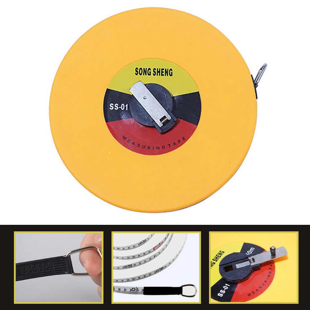 1,5/10/15/20/30/50 m disco portátil cinta de fibra Flexible regla mano herramienta de medición