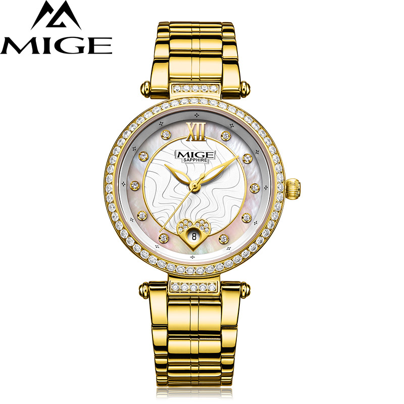 2018 Top Brand Mige Business Fashion Cusaul Steel Case While Goden Japan Movement Ladies Watch Waterproof  Women Quartz Watches2018 Top Brand Mige Business Fashion Cusaul Steel Case While Goden Japan Movement Ladies Watch Waterproof  Women Quartz Watches