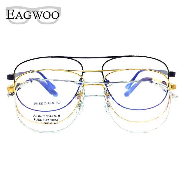 Titanium óculos ponte dupla lerdo do vintage tamanho grande frame ótico prescrição espetáculo para o rosto largo homens óculos de leitura