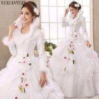 Trắng Organza Dài Tay Áo Giá Rẻ Wedding Dresses 2017 Mùa Đông Ấm Áp Wedding Gowns Hồi Giáo Bridal Dress robe de soiree trouwjurk