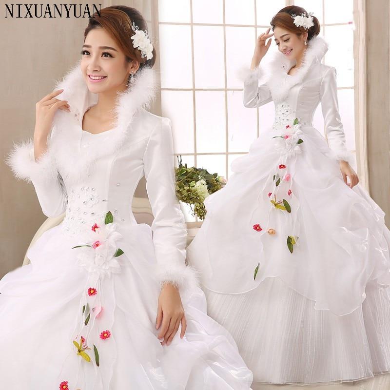 White Organza Long Sleeves Cheap Wedding Dresses 2019 Winter Warm Wedding Gowns Muslim Bridal Dress Robe De Soiree Trouwjurk