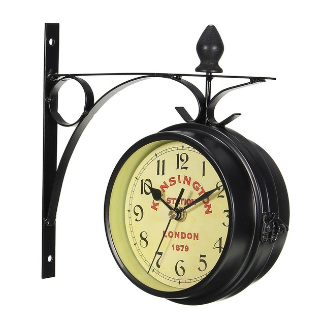 Charminer Винтаж декоративная Двусторонняя металлическая настенные часы антикварные Стиль станции настенные часы на стене часы черный
