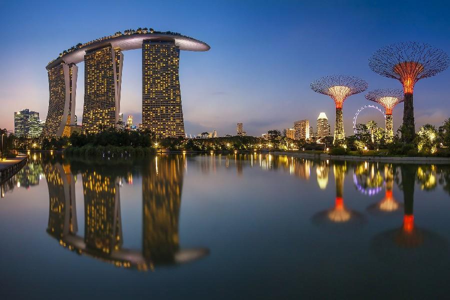 la ciudad de singapur mar edificios noche paisaje paisaje tela de seda impresin del cartel decoracin