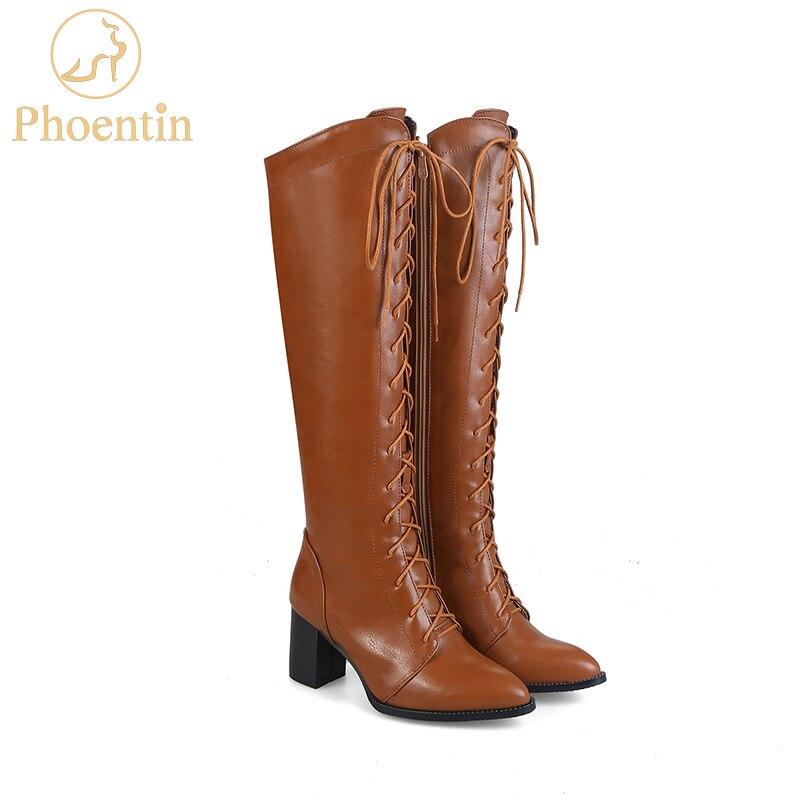 Phoentin PU knee high winter boots for women lace up side open zipper woman boots high