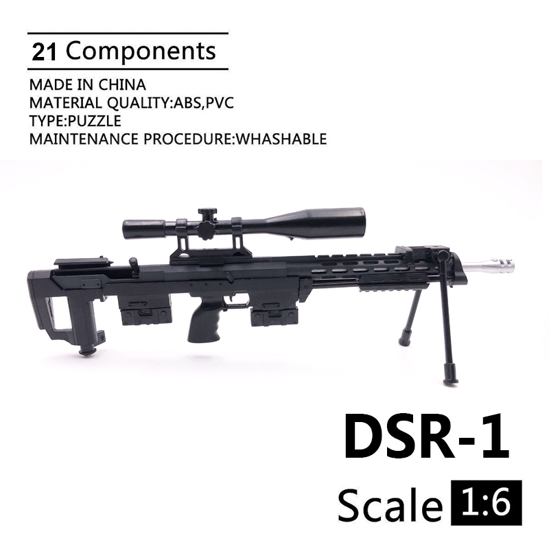 1:6 DSR-1 Sniper Rifle Gun Mode Black Coated Plastic Military Model Accessories For 12