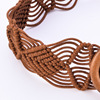 Wooden Clasp Leather knitted Braided Belt