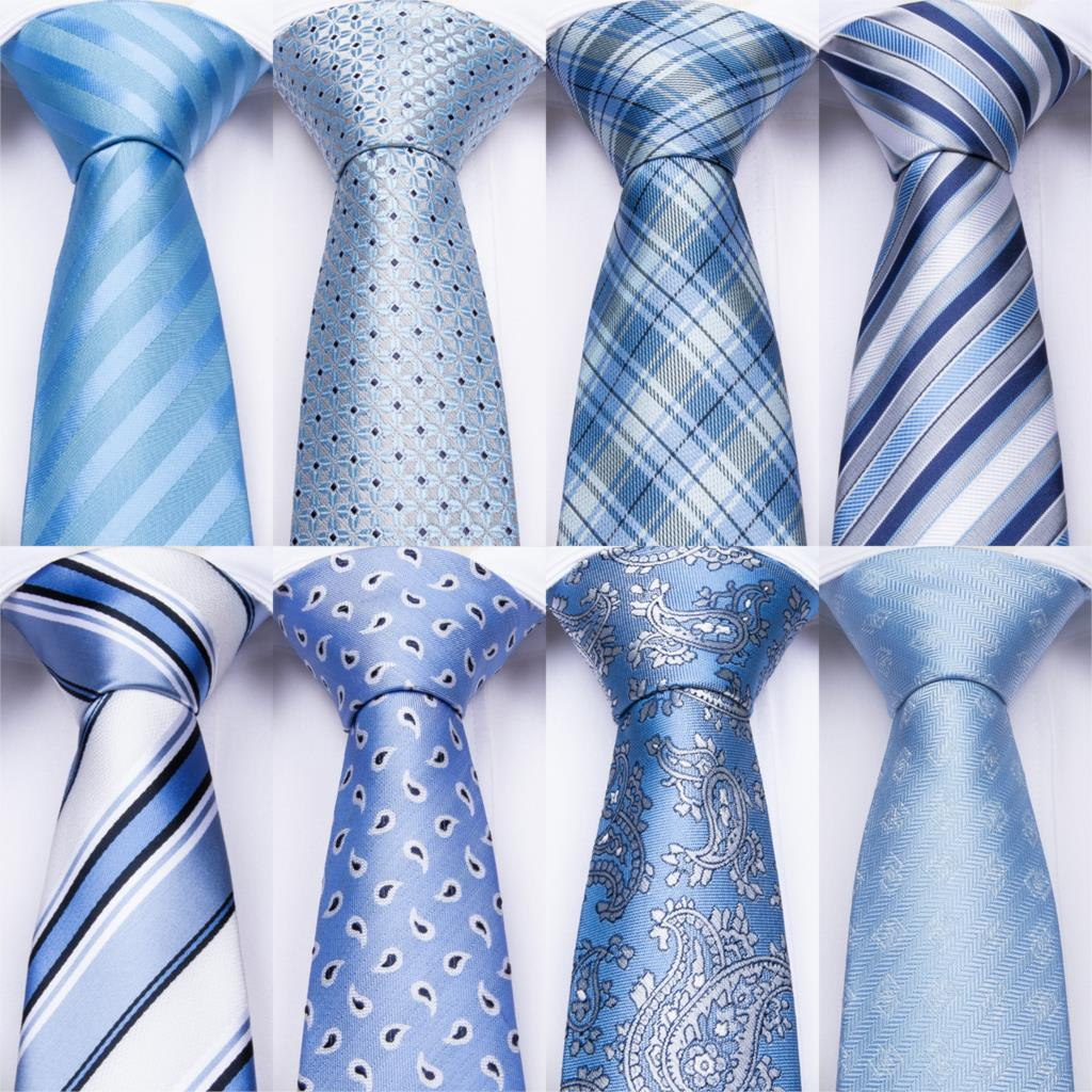 Light Blue Striped Mens Ties Hanky Cufflinks Set Silk Neck Ties For Men Wedding Party Business Tie Men Set Dropshipping DiBanGu