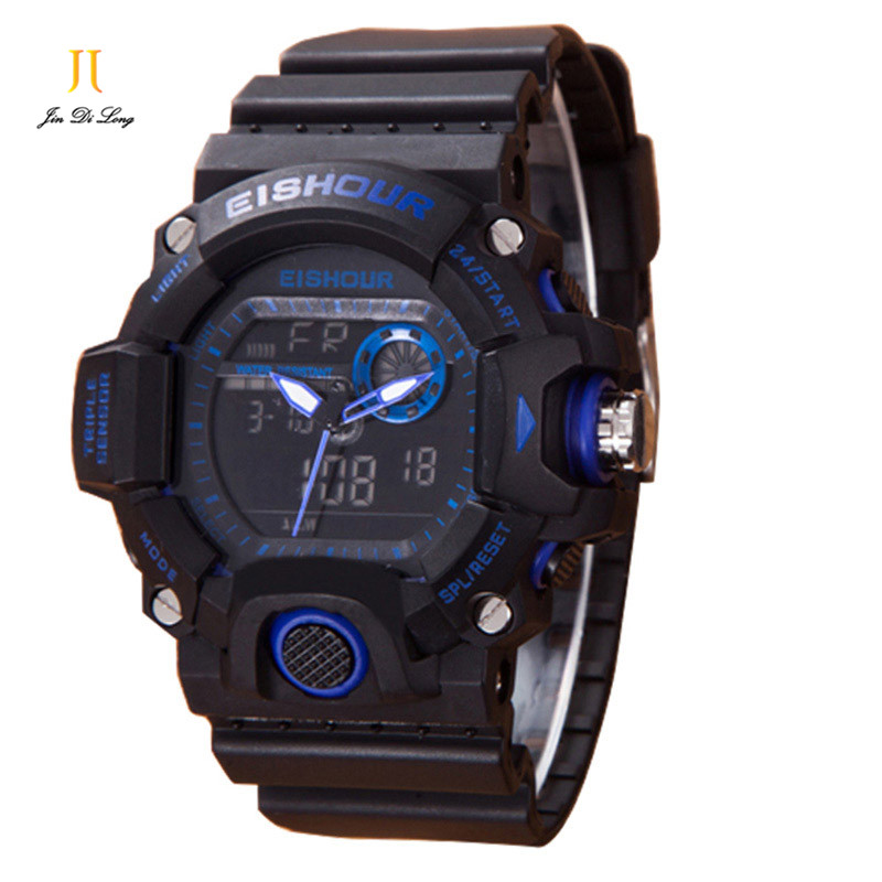 Men's Sports Watch New Arrival Waterproof Electronic Watch Big Dial Fashion Luminous With Alarm Clock Men Digital Wristwatches splendid brand new boys girls students time clock electronic digital lcd wrist sport watch