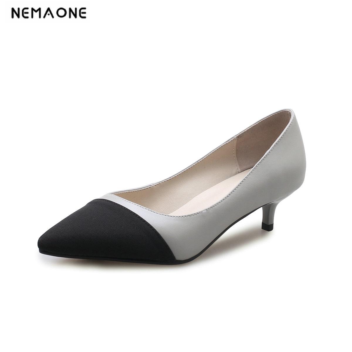 Cuir Pompes Taille Haut De 34 Femmes Talon Nouveau Femme 43 Bureau Nemaone Printemps Mariage Chaussures gris En Beige Véritable Mince hCxrdotsQB