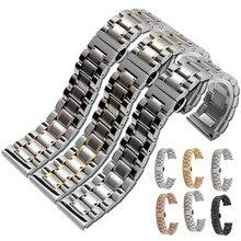 купить New 14 16 18 19 20 21 22 23 24mm Stainless Steel Watch band Strap Bracelet Watchband Wristband Butterfly Buckle Clasp по цене 672.52 рублей
