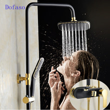 цена на Dofaso Retro Style Gilded golden & Black Shower Bathtub Faucet Mixer Tap With Hold Head Brass Handles Waterfall Shower faucet