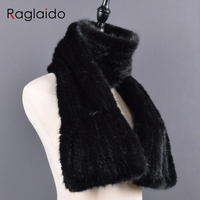 Winter Real Mink Fur Scarf For Women Long Style Lady Genuine Fur Neckerchief Handmade Knitted Really Mink Fur Scarves