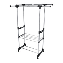 Adjustable Telescopic Stainless Steel Double Rolling Rails Home Clothes Garment Rack StandChina