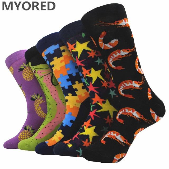 Myored 5pairs Lot Mens Wedding Socks Colorful Fruit Pinele Style Men Combed Cotton Novelty Long