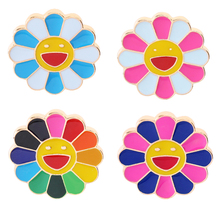 Japanese Murakami Takashi seven color sunflower dripping oil brooch metal face Lapel Pins cartoon Badge Jewelry For Child