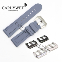CARLYWET 24mm Grey Waterproof Silicone Rubber Replacement Wrist Watch Band Strap Belt Silver Black Buckle For Luminor