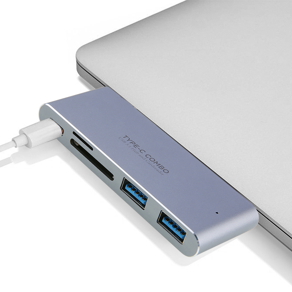 5-in-1 Type C Hub with Type C Power Delivery 2 USB 3.0 Ports SD/TF Card Reader USB HUB for MacBook Pro HUB Splitters