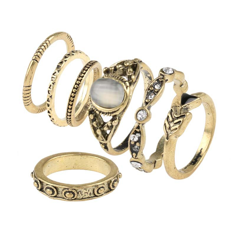 African Wedding Ring Sets For Women Statement Jewelry Antique Bronze Plated Pave Crystal Big Oval Opal Stone Charm Midi Ring