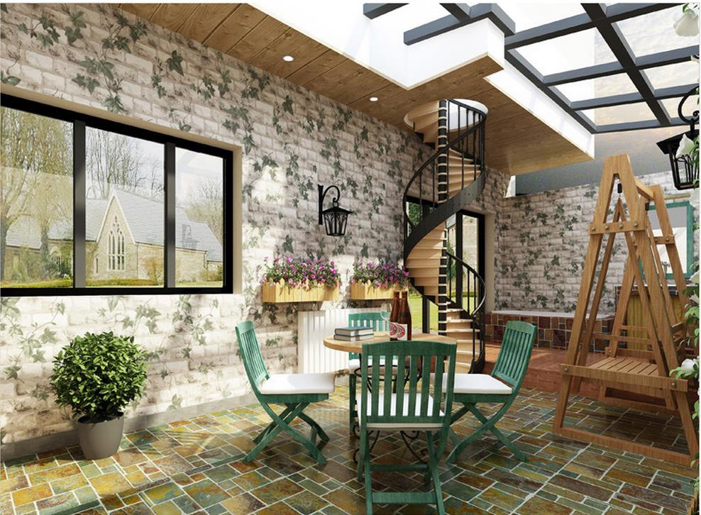 ФОТО 3D brick pattern wallpaper Chinese Restaurant Hotel Ivy project wallpaper balcony roll wallpapers
