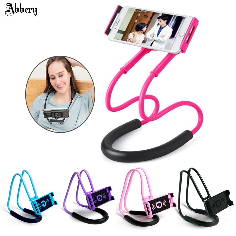 Abbery Flexible Mobile Phone Holder Necklace Long Arm Lazy Bracket Smartphone Holder Stand For iPhoneX iPad Air Tablet 4-10 inch