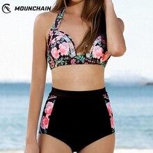 Women Rose Pattern High Waist Split Bikini Suit
