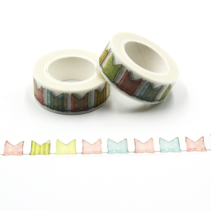 1 PCS Creative Color Flag 15mm*10m Japanese Washi Decorative Adhesive Tape Flags Pattern Masking Paper Tape Diary Sticker Gift