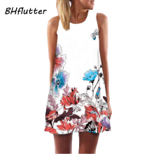 New Style Lady Short Dress Sleeveless Summer Floral Print