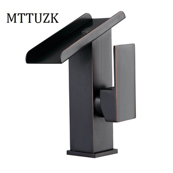 MTTUZK Free Shipping Square Oil Bubbed Bathroom Basin Faucet Brass Mixer Tap Vanity Faucet Sink Mixer Tap Black Waterfall Faucet