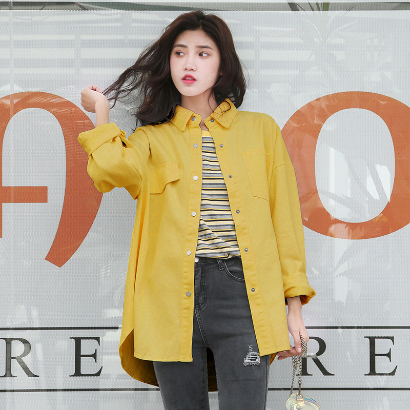 2019 New Women OverSize Denim Jackets Shirts Spring Solid BF Style White Shirts Female Plus Size Summer Loose Thin   Coats   Tops
