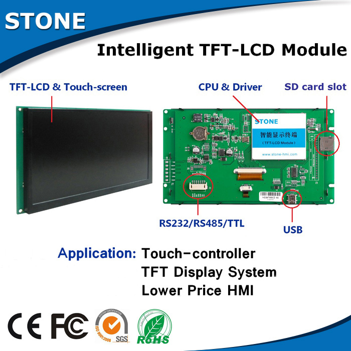 1024*600 Resolution LCD Module 10.1 Inch With RS232 / RS485 / TTL / USB Interface1024*600 Resolution LCD Module 10.1 Inch With RS232 / RS485 / TTL / USB Interface