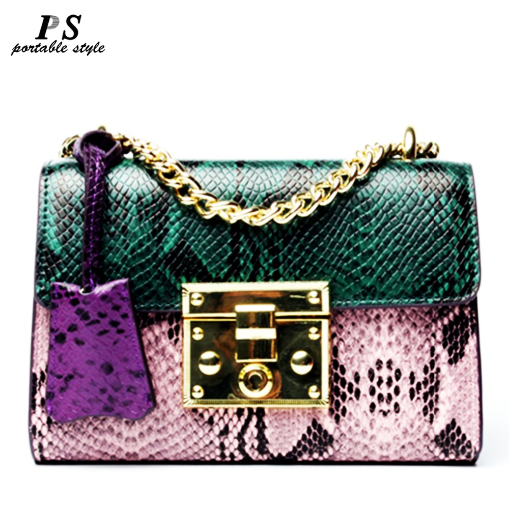 2019 New Women Messenger Bag 100% Genuine Leather Serpentine Panelled Crossbody Bag Fashion Design Shoulder Bag Chains Women Cha