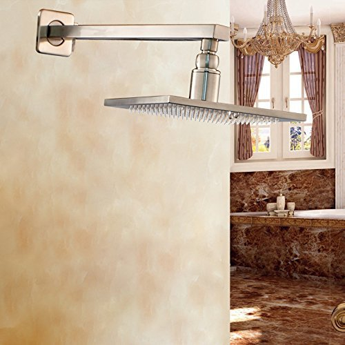 Brushed Nickel Overhead 12 Rain Shower Head with Wall Mounted Shower Arm free shipping wall mounted brushed nickle led light showerhead with shower arm 8 10 12 inch